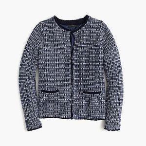 J CREW tweed sweater jacket with fringe trim